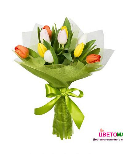 Букет 11 тюльпанов микс
