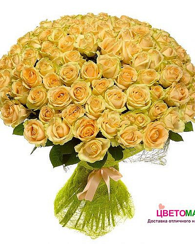 Букет 101 кремовая роза Россия