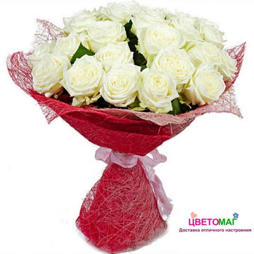 Букет из 31 красной и белой розы Россия
