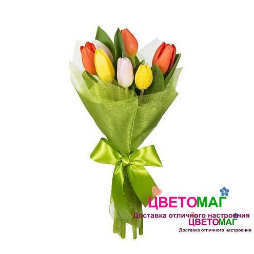 Букет 7 тюльпанов микс