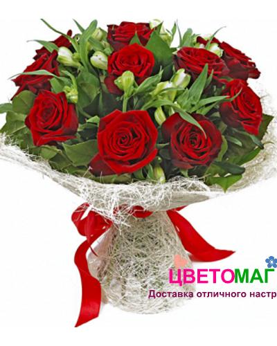 Букет из 11 роз и альстромерий