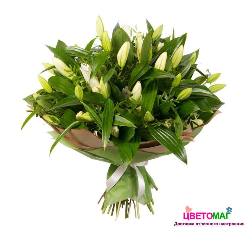 Букет из 21 белой лилии