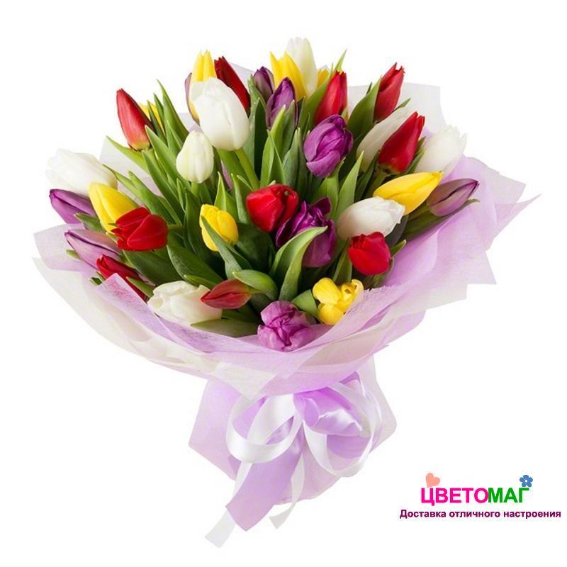 Фото букетов с разноцветными тюльпанами
