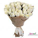 Букет 25 роз белый шоколад в крафте