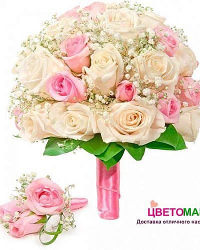 """Свадебный букет """"Дуэт"""" из кенийских роз"""