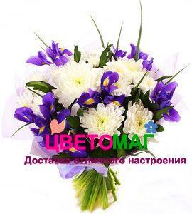 """Свадебный букет """"Дама"""" из хризантемы и ирисов"""