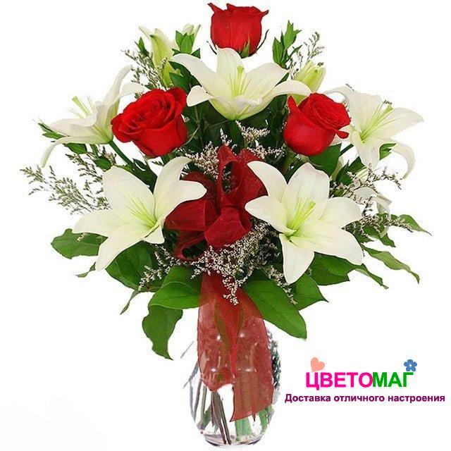 Букет из 7 лилий и 7 роз