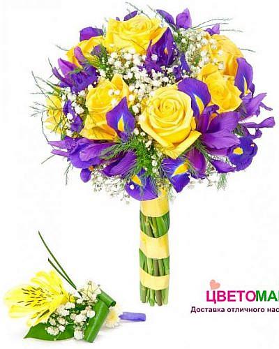 """Свадебный букет """"Объятия"""" из кенийских роз и ирисов"""