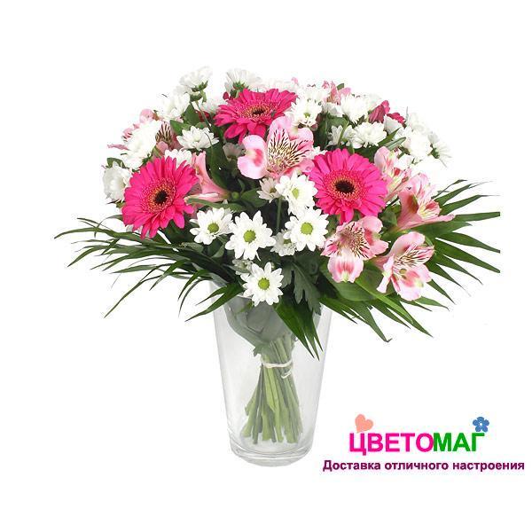 Букет из гербер, альстромерий и хризантем | Цветомаг