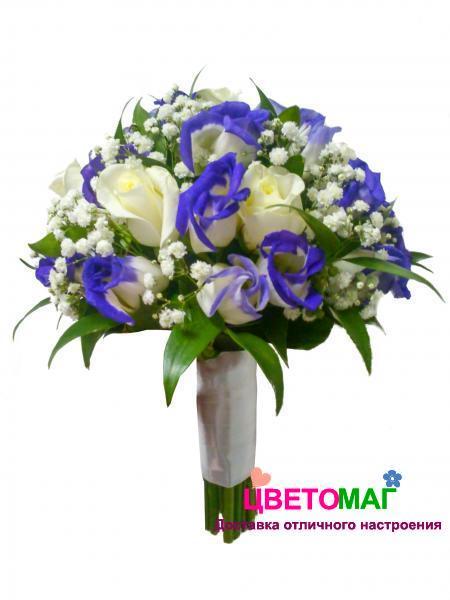 """Свадебный букет """"Ласка"""" из эустомы, белых роз и гипсофилы"""