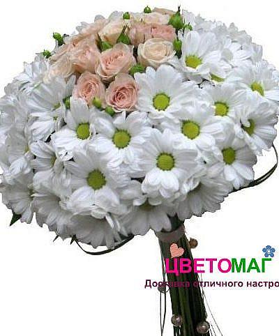 """Свадебный букет """"Мечта"""" из хризантем и роз"""