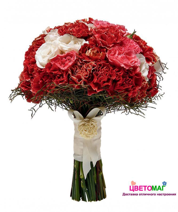 Цветов, красный букет невесты из гвоздик купить