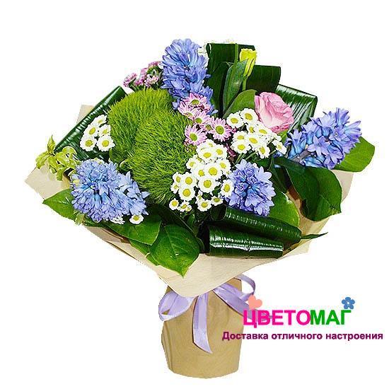Цветов, голубые букет из хризантем и гвоздик фото