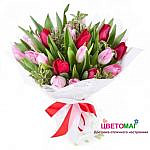 Букет из красных и розовых тюльпанов спб