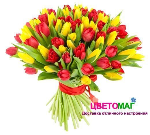 Букет из 101 красного и желтого тюльпана