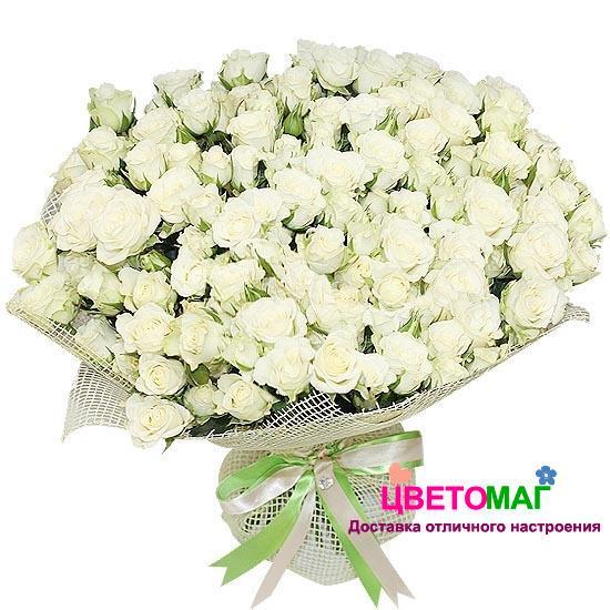 Букет из 29 белых кустовых роз.