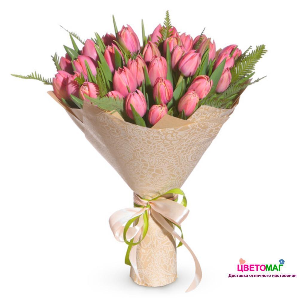 Букет из 49  розовых тюльпанов