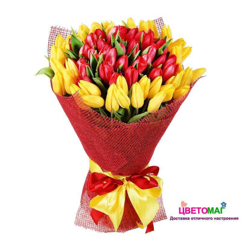 Букет из 51 тюльпана красного и желтого цвета