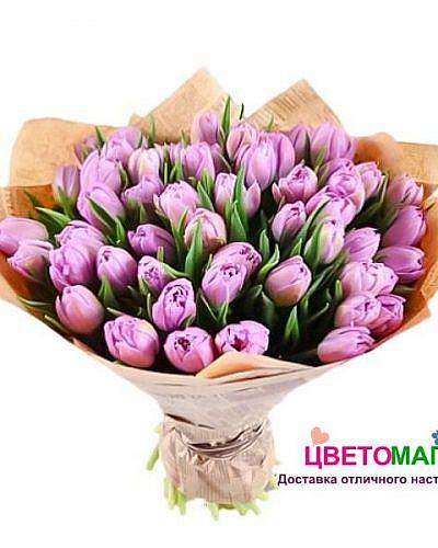 Букет из 51 тюльпана розового цвета