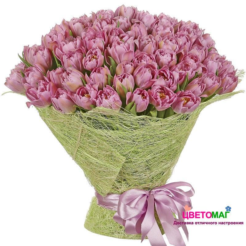 Букет из 75 розовых тюльпанов