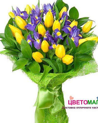 Букет с желтыми тюльпанами и ирисами