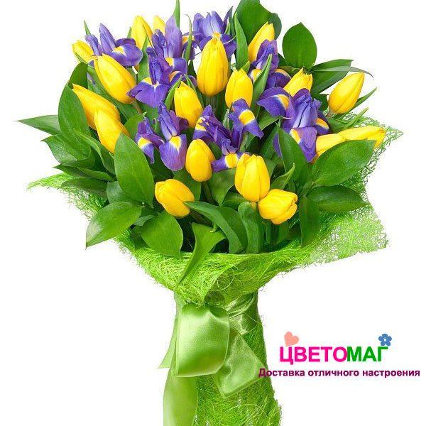 Букет с желтыми тюльпанами и ирисами спб