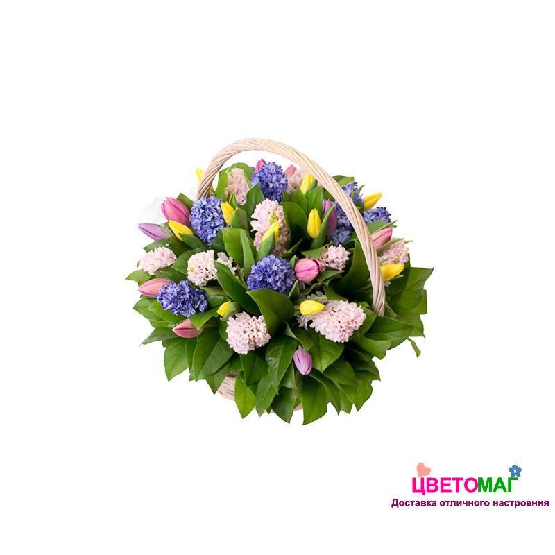 Корзина из разноцветных тюльпанов и гиацинтов