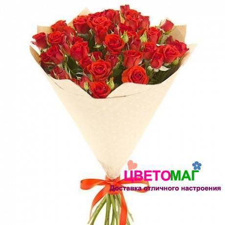 букет из 15 красных кустовых роз