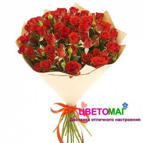 букет из 21 красной кустовой розы спб