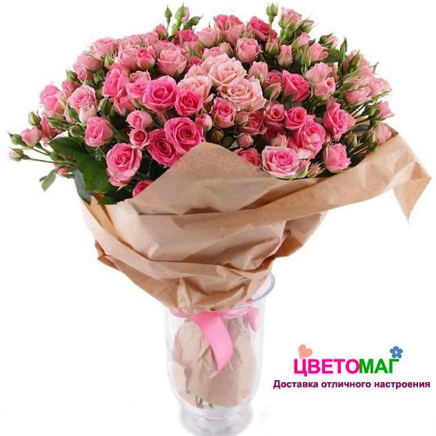 Букет из 21  розовой кустовой розы