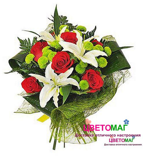 Букет из лилии и 5 роз