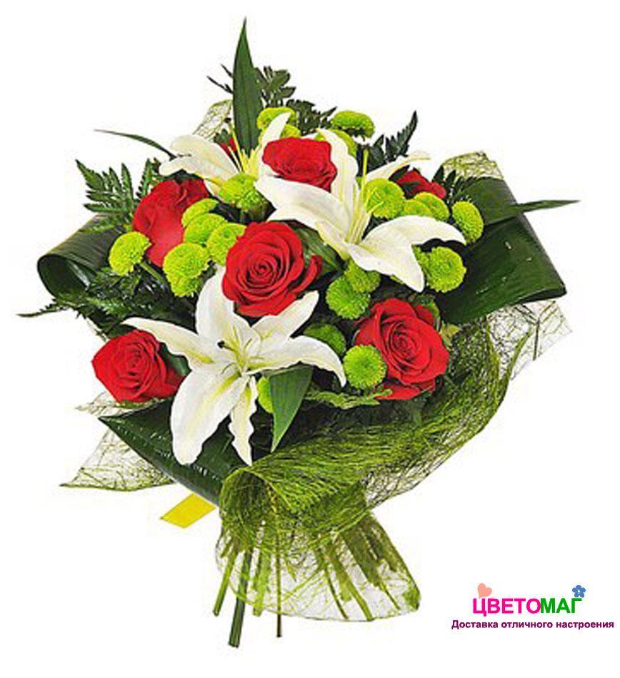 Меховой, цветной букет из лилии и трех роза
