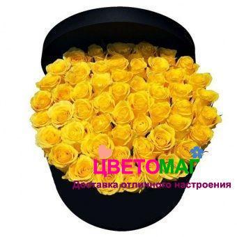 Шляпная коробка из 31 желтой розы