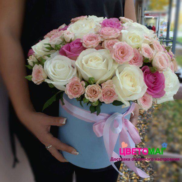 "Шляпная коробка с розами ""Премиум"""