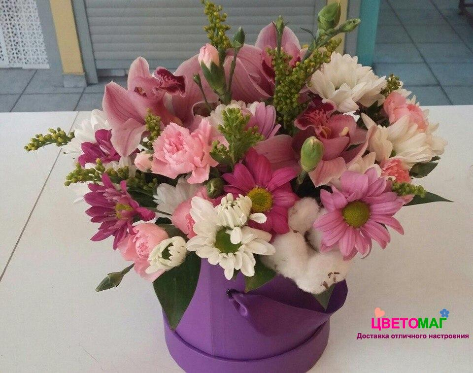 Композиция №1 с орхидеей и хризантемами