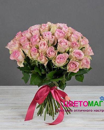 Букет 51 кенийская розовая роза
