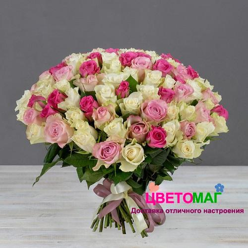 Букет 101 кенийская розовая и белая роза