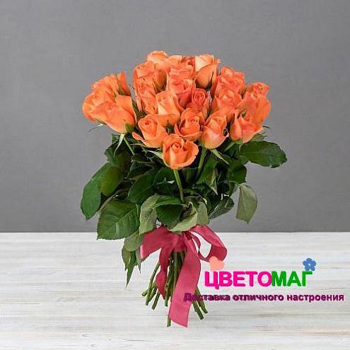 Букет 25 кенийских рыжих роз