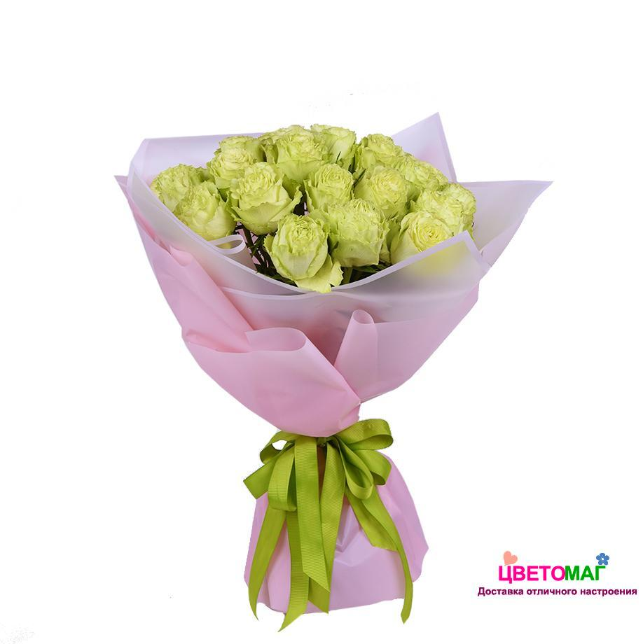 Букет из 25 зеленых роз   Lemonade 50 см (Эквадор)