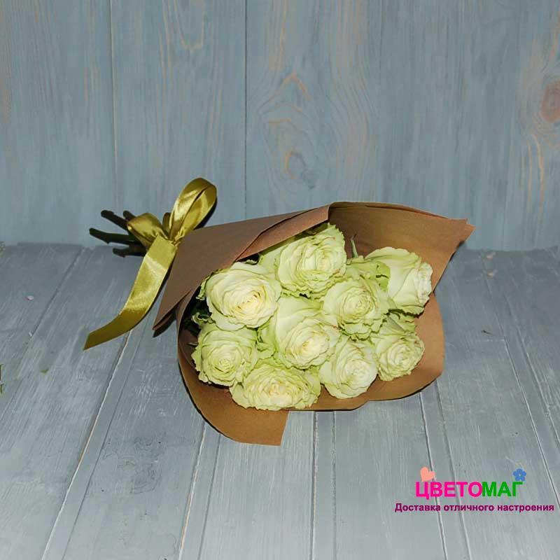Букет из 9 зеленых роз Lemonade 50 см (Эквадор)