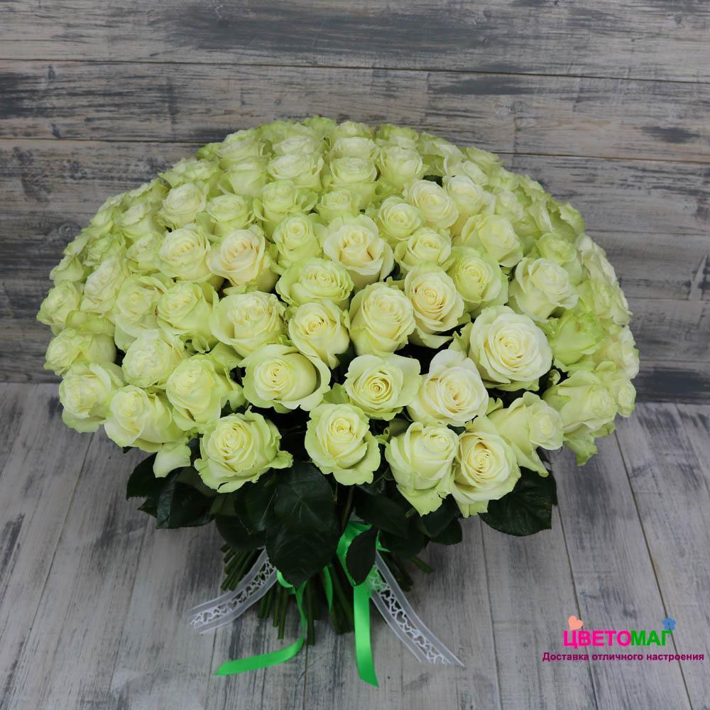 Букет 101 белая роза Mondial 50 см (Эквадор)