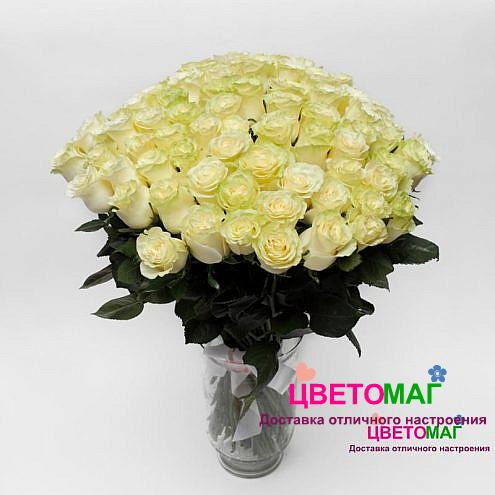 Букет 101 белая роза Mondial 70 см (Эквадор)