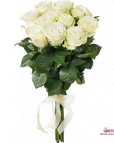 Букет 11 белых роз Mondial 70 см (Эквадор)