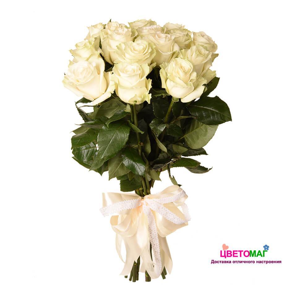 Букет 15 белых роз Mondial 50 см (Эквадор)