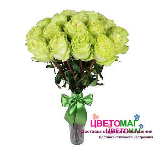 Букет 21 зеленая роза Lemonade 60 см (Эквадор)