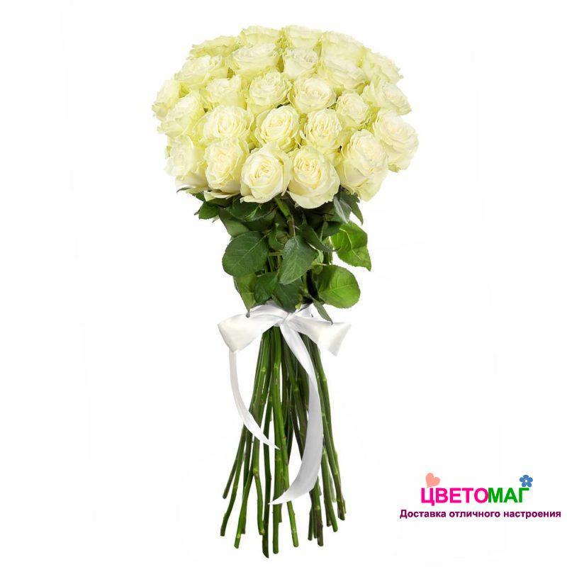 Букет 25 белых роз Mondial 70 см (Эквадор)