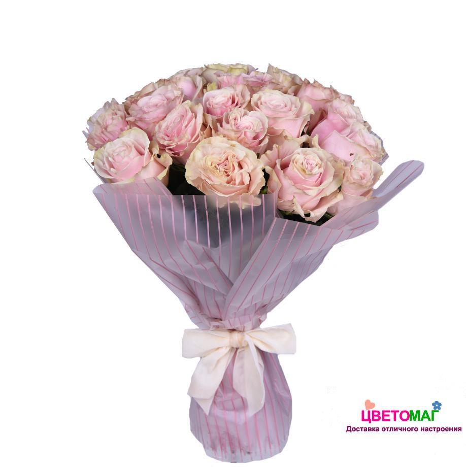 Букет 25 розовых роз  Pink Mondial 50 см (Эквадор)