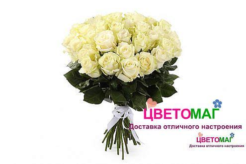 Букет 35 белых роз Mondial 50 см (Эквадор)