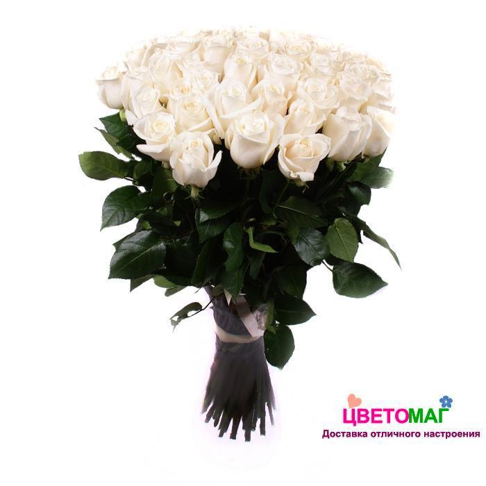 Букет 35 белых роз Vendela 50 см (Эквадор)