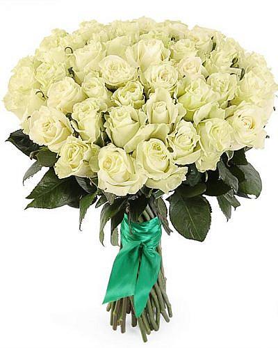 Букет 51 белая роза Mondial 60 см (Эквадор)